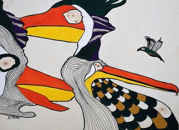Oiseaux n° 8, acrylique et posca sur bois