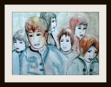 Le groupe, aquarelle encre de Chine. D.Petit
