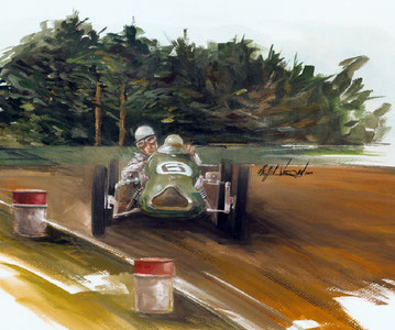 stirling moss cooperjap gouache art painting illustration