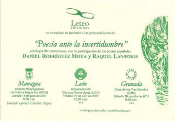 Tarjeta presentación de Poesía ante la Incertidumbre en Nicaragua