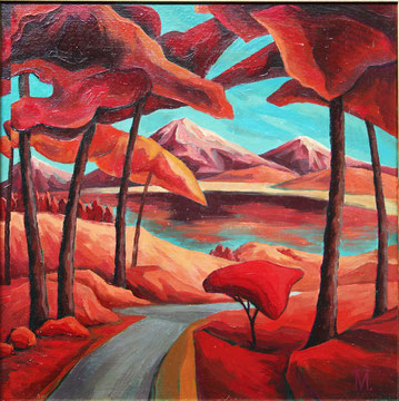 """Prihodko Marina, """"Landscape in red"""", Öl auf Karton, 60 x 60 cm, 2011, gerahmt,  1.000 €"""