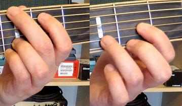 Nahaufnahmen des Griffbretts einer Westerngitarre, die Greifhand greift im ersten Bild den G-Dur und im zweiten Bild den D-Dur-Akkord