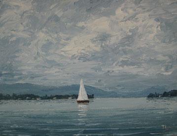Klare Sicht am Bodensee (Öl auf Leinwand, 12 x 16 cm, verkauft)