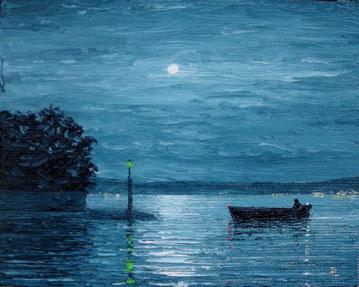 Einlaufendes Fischerboot (Öl auf Leinwand, 12 x 16 cm, verkauft)