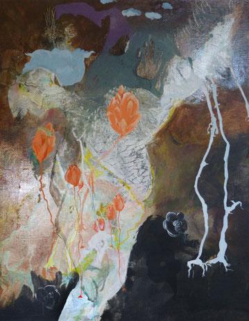 """""""Madame se creuse le bulbe""""Acrylique sur toile Dim92cmx76cm"""