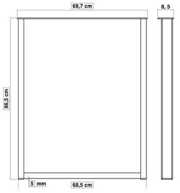 pied de table en métal pour cuisine 86 cm x 70 cm