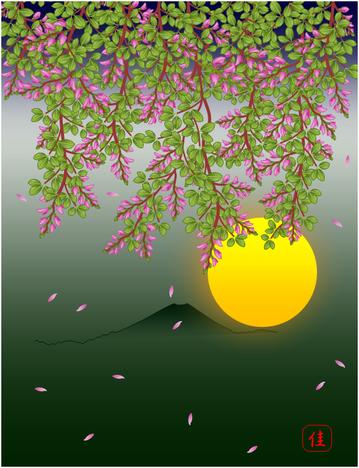萩の花と月1