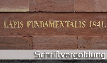 Schriftvergoldung, das Vergolden der Schrift und Fassadenschrift von GERZEN wand-design