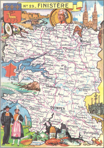 Recto d'une carte postale timbrée envoyée depuis le Finistère