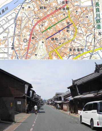 岐阜県美濃市中心街の一方通行街路