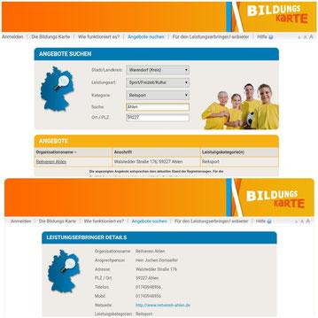 Eine Abrechnung über die Bildungskarte ist bei uns möglich! Weitere Infos unter www.bildungs-karte.org .