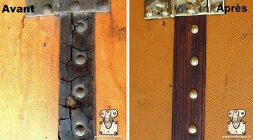 Cracked black louis vuitton trunk leather dead hs