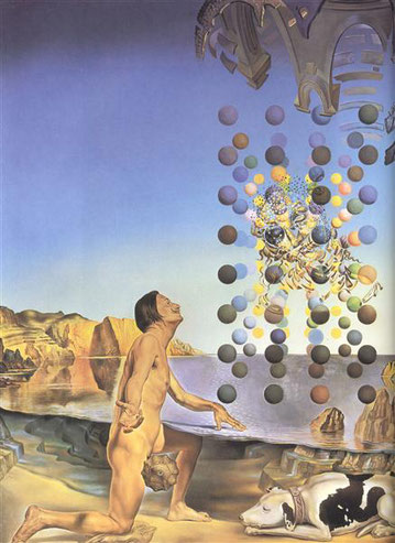 Обнаженный Дали, созерцающий пять упорядоченных тел, превращающихся в корпускулы, из которых неожиданно сотворяется Леда Леонардо, оплодотворенная лицом Гала