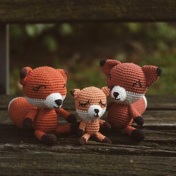 Fuchs gehäkelt handgemacht Kuscheltier Baumwolle