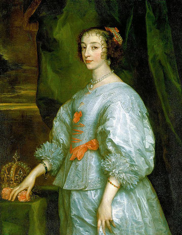 Henrietta Maria, Queen of Britain and consort of Charles I wearing gorgeous lace. Henrietta was a fashion icon bringing soft colours and less stiff dress cuts from her home country (CC BY-NC-SA 2.0, flickr, picture by Lisby) Baroque dress, gown
