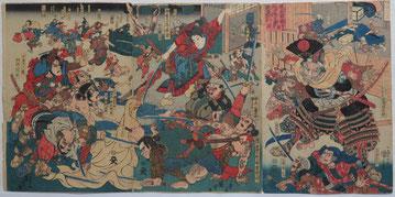Kuniyoshi,熊坂長範,源義経,美濃赤坂宿,歌舞伎,ろぼうがっこう,烏帽子折