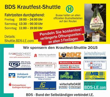 Sponsoring des BdS Shuttle-Busses zum 37. Filder-Krautfest durch die Firma Wirtschaftsimpuls GmbH aus Leinfelden