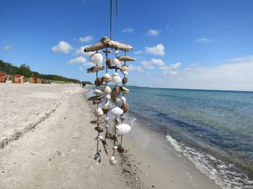 Windspiel aus weißen Muscheln und braunem Treibholz am Strand fotografiert.