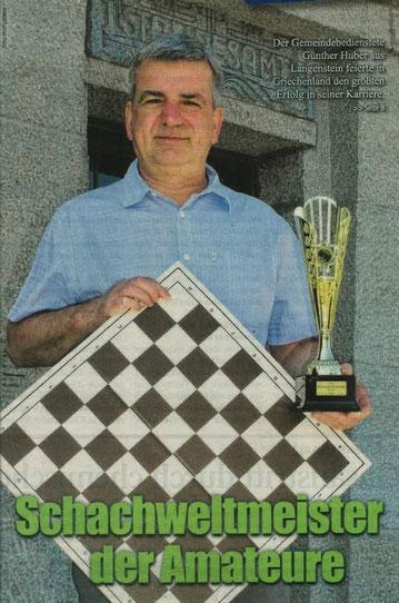 Schachweltmeister der Amateure 2017: Günther Huber (Foto: Tipps)