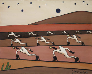 Emre Baykal,  Desert march, 2000. Oil on canvas, 80 x 100 cm