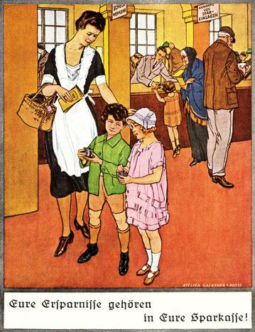Plakat zu ersten Weltspartag in Österreich von 1925. Sparkassenwerbung von Gaertner und Kloss.