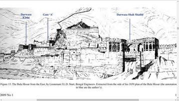تصویر بالاحصار کابل از متن رساله متعلق به رسامی های چارلز مانسون است ۱۷۳۹
