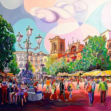 GRANADA (GRANADA). Oil on canvas. 100 x 100 x 3,5 cm.