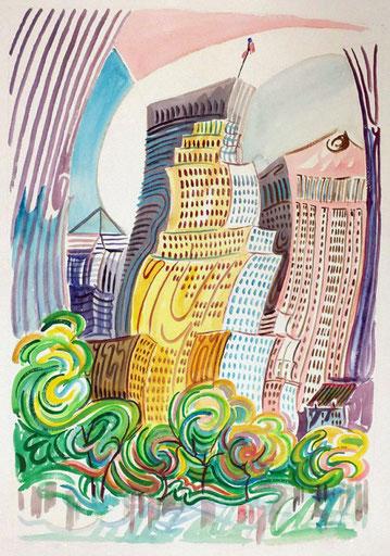 CENTRAL PARK (NEW YORK). Aquarelle sur papier pressé. 76 x 56 x 1 cm.