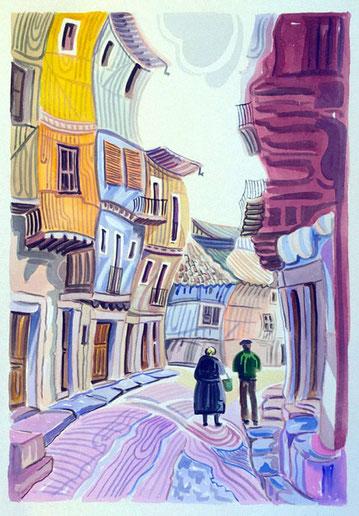 CALLE LA PUENTE (LA ALBERCA). Watercolor on pressed paper. 76 x 56 x 1 cm.