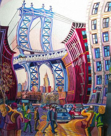 PUENTE MANHATTAN (NEW YORK). Huile sur toile. 100 x 81 x 3,5 cm.