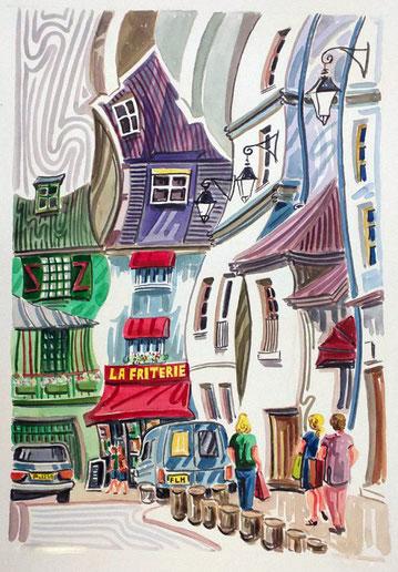 BARRIO LATINO (PARIS). Acuarela sobre papel prensado. 76 x 56 x 1 cm.