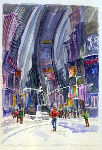 TIMES SQUARE (NEW YORK). Aquarelle sur papier pressé. 76 x 56 x 1 cm.