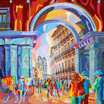 CALLE TOLEDO (MADRID).Huile sur toile. 80 x80 x 3,5 cm.