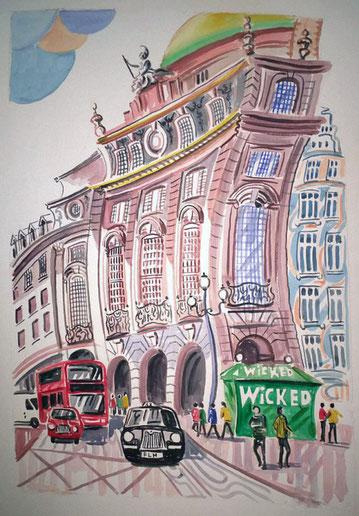 PICADILLY CIRCUS (LONDRES). Aquarelle sur papier pressé. 76 x 56 x 1 cm.