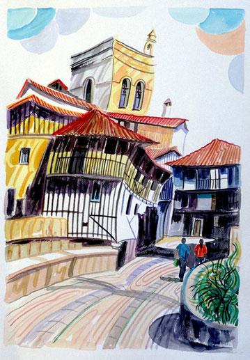 CASA SOBRE EL PUENTE (LA ALBERCA). Watercolor on pressed paper. 76 x 56 x 1 cm.
