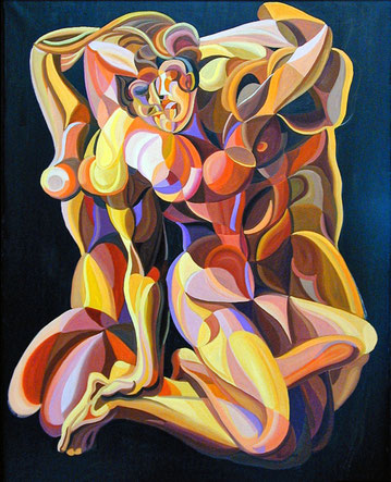 ATLETAS (MADRID). Huile sur toile. 146 x 114 x 3,5 cm.