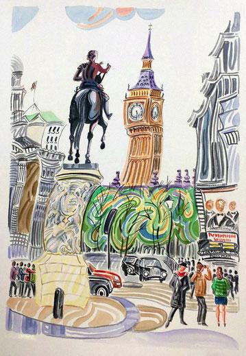 CARLOS I (LONDRES). Aquarelle sur papier pressé. 76 x 56 x 1 cm.
