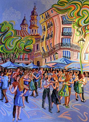 PLAZA DORREGO (BUENOS AIRES). Huile sur toile. 130 x 97 x 3,5 cm.