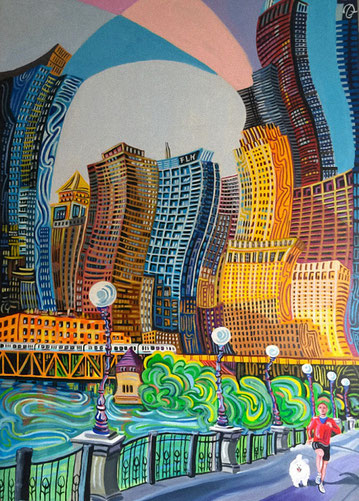 CORRIENDO POR CHICAGO (CHICAGO). Huile sur toile. 130 x 97 x 3,5 cm.