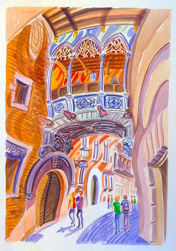 BARRIO GOTICO (BARCELONE). Aquarelle sur papier pressé. 76 x 56 x 1 cm.