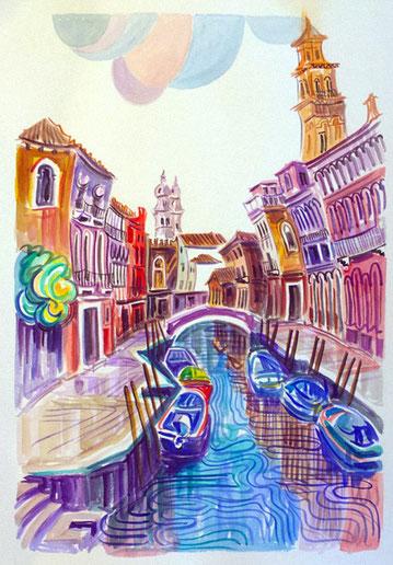 CANAL DE VENECIA (VENISE). Aquarelle sur papier pressé. 76 x 56 x 1 cm.