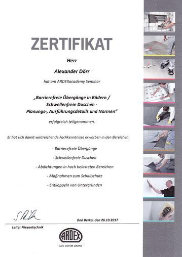 Mister Fliese - Fliesenleger aus Leipzig - Zertifikat für Barrierefreie Übergänge in Bädern / Schwellenfreie Duschen - Planungs-, Ausführungsdetails und Normen