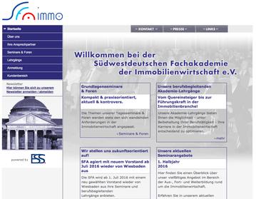 Webseite zur Südwestdeutschen Fachakademie der Immobilienwirtschaft e. V.