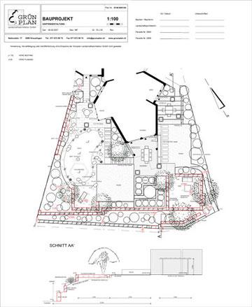 CAD Plan, Schwarz weiss, Baueingabe