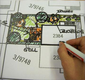 Handzeichnung, Skizze, Plan, Gartengestaltung, kreativ, Varianten