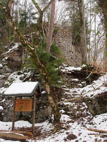 Hinweistafel und Mauerreste