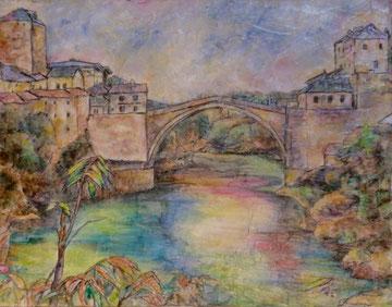 モスタルの橋 油彩・ミクストメディア F6