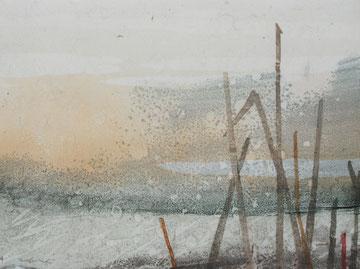 Grass Ⅱ 油彩木版モノタイプ 15×20