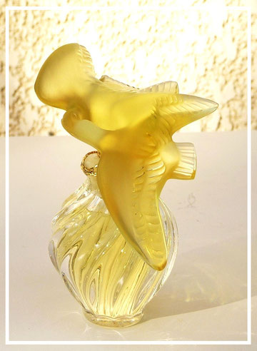 FLACON CRISTAL LALIQUE - PARFUM 15 ML - COLOMBES TOPAZE 1991