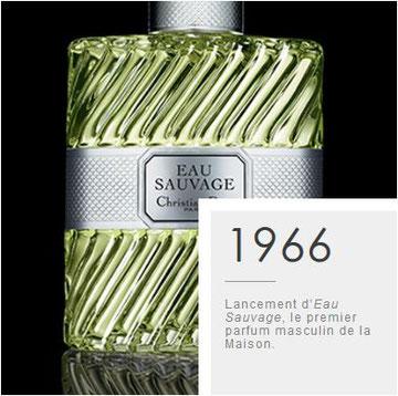 1966 - LANCEMENT D'EAU SAUVAGE, LE PREMIER PARFUM MASCULIN DE LA MAISON.
